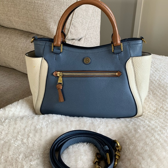 Tory Burch Handbags - Tory Burch Frances Blue White Color Block Satchel